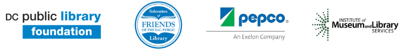 Logos for DC Public Library Foundation, Federation of Friends of the DC Public Library, Pepco: An Exelon Company, Institute of Museum and Library Services
