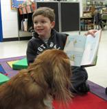 Aubrey the dog listens to a boy read a book