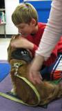 Photo of Aubrey the dog getting a kiss from a boy
