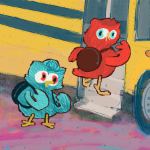 Two owls wearing backpacks getting on the school bus