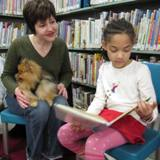 Photo of Chance the dog reading at the library