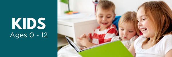Kids Ages 0-12, Young Siblings Reading at Home