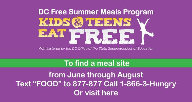 Free Summer Meals For Kids And Teens District Of Columbia Public