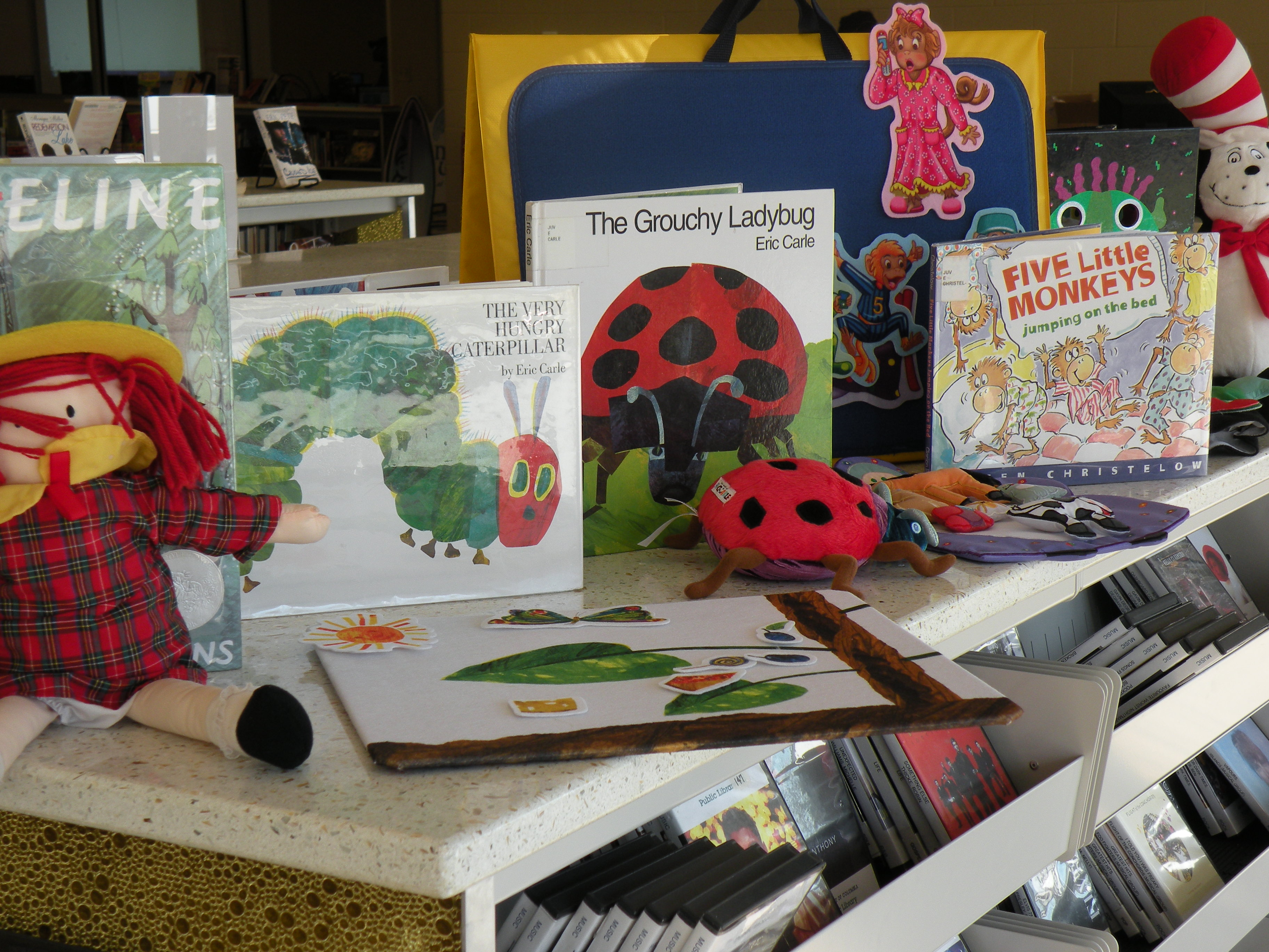 Picture books, flannelboard pieces and puppets for the Story Petting Zoo