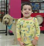 Photo of Harpo the dog and a little boy at the library
