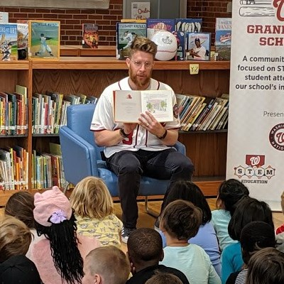 Washington Nationals Pitcher Sean Doolittle doing a special story time for children