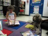Photo of Ella the Dog reading in the library