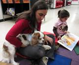 Fenway the dog reading at the library
