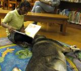 Photo of Freddie relaxing to a story at the library