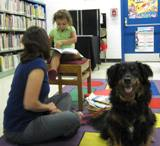 Happy Dog at the library