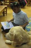 Photo of Leo listening to a story at the library