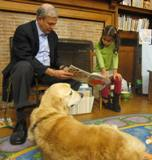 Photo of Leo the dog listening to a story at the library