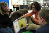 Photo of Max the dog listening to a story at the library