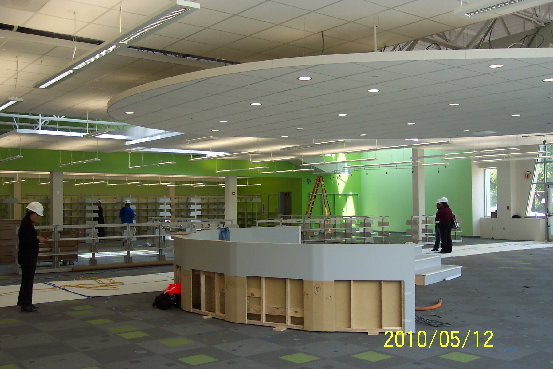 Interior photo of Deanwood Library under construction.