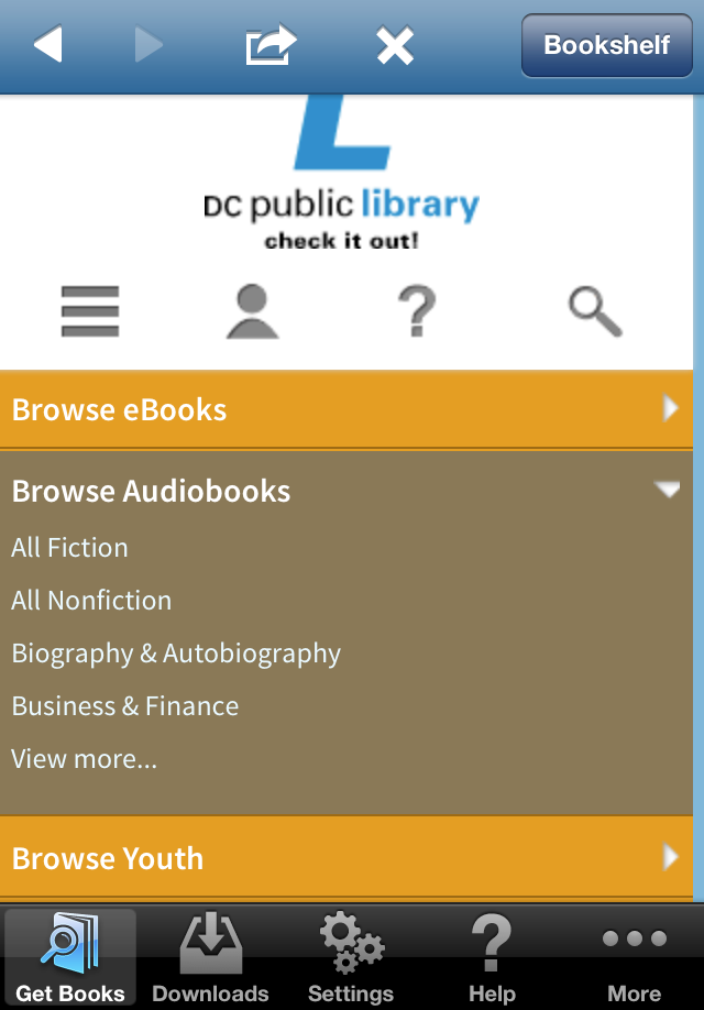 OverDrive Browse Audiobooks Screenshot