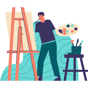 Person painting on an easel