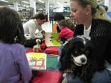 Photo of Pup-a-Roo the dog happy at the library