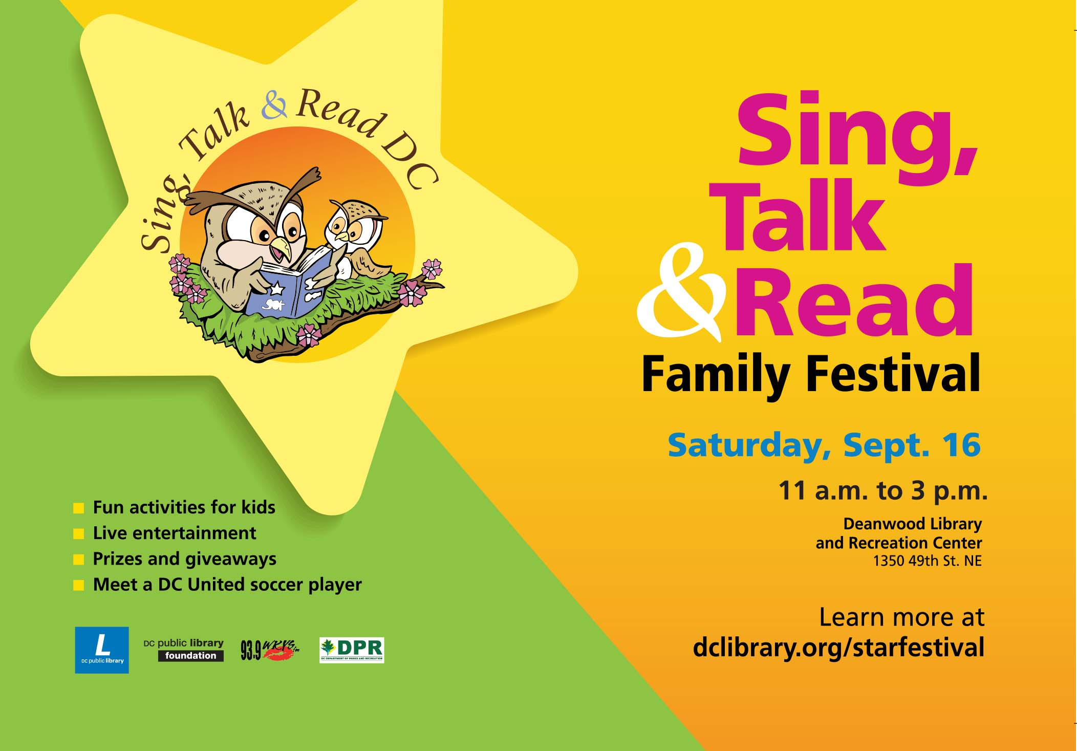 DC Library Sing Talk and Read Festival Flyer