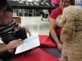 Photo of Scampers the dog reading with a little boy