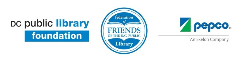 Logos for the DC Public Library Foundation, Federation of Friends of the Library, Pepco: An Exelon Company