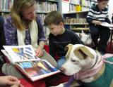 Photo of Susie the dog reading with a family at the library