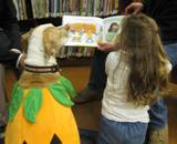 Photo of Suzie the listening to a story at the library