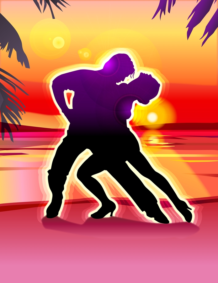 colorful graphic of a couple dancing on a beach