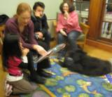 Photo of Teddy the dog spending time with a family at the library