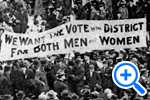 Banner asks Vote for Both Men and Women in the District at suffrage parade. 1913-Historical Image Collection - SELECT to zoom