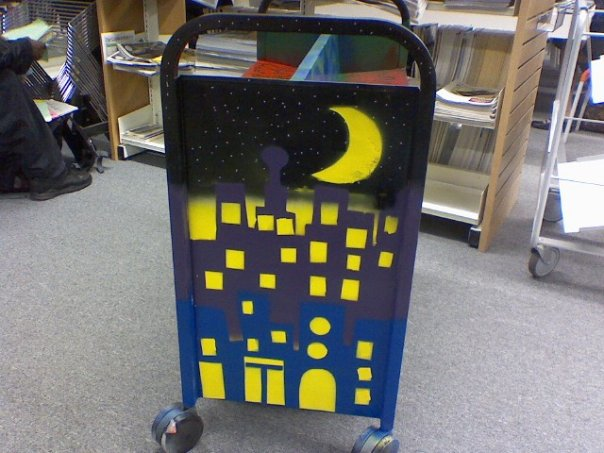 Bookcart cityscape at night