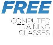 Large lettering proclaiming free computer classes