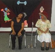 TwoFace, Inc with Ms Ida demonstrates exercises for seniors