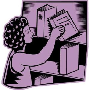 image of woman pulling a book off a shelf