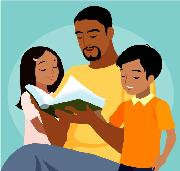 Image of Adult Reading to Kids