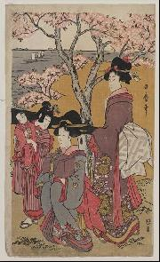 Japanese print with women and cherry tree