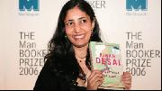 Photo of Kiran Desai with her book at the 2006 Man Booker Prize award ceremony.