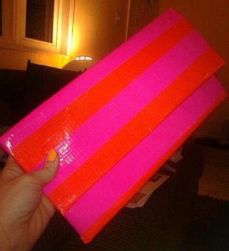 striped clutch made out of duct tape