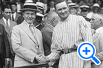 Hall of Fame pitcher Walter Perry Johnson named most valuable Senator in 1924, the year the Senators won the World Series, shakes hands with President Calvin Collidge, Star Collection, ©Washington Post - SELECT to zoom