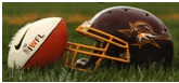 picture of a helmet and football