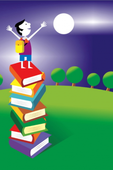Image of Child Standing on Books