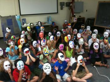 Kids learning about Italian masks