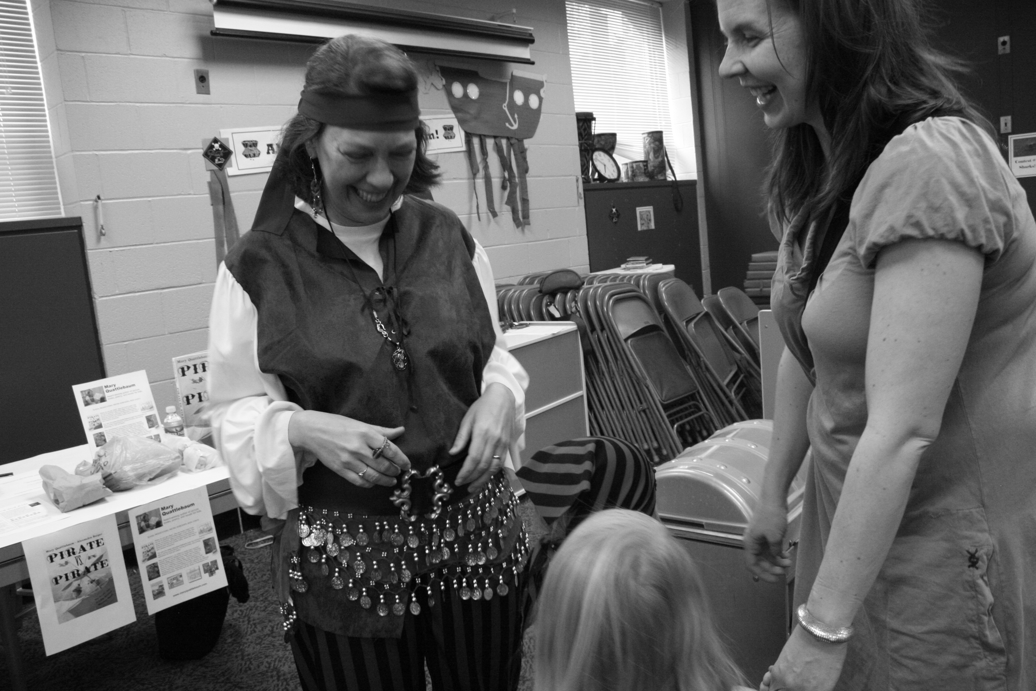 Mary talking to a young pirate princess