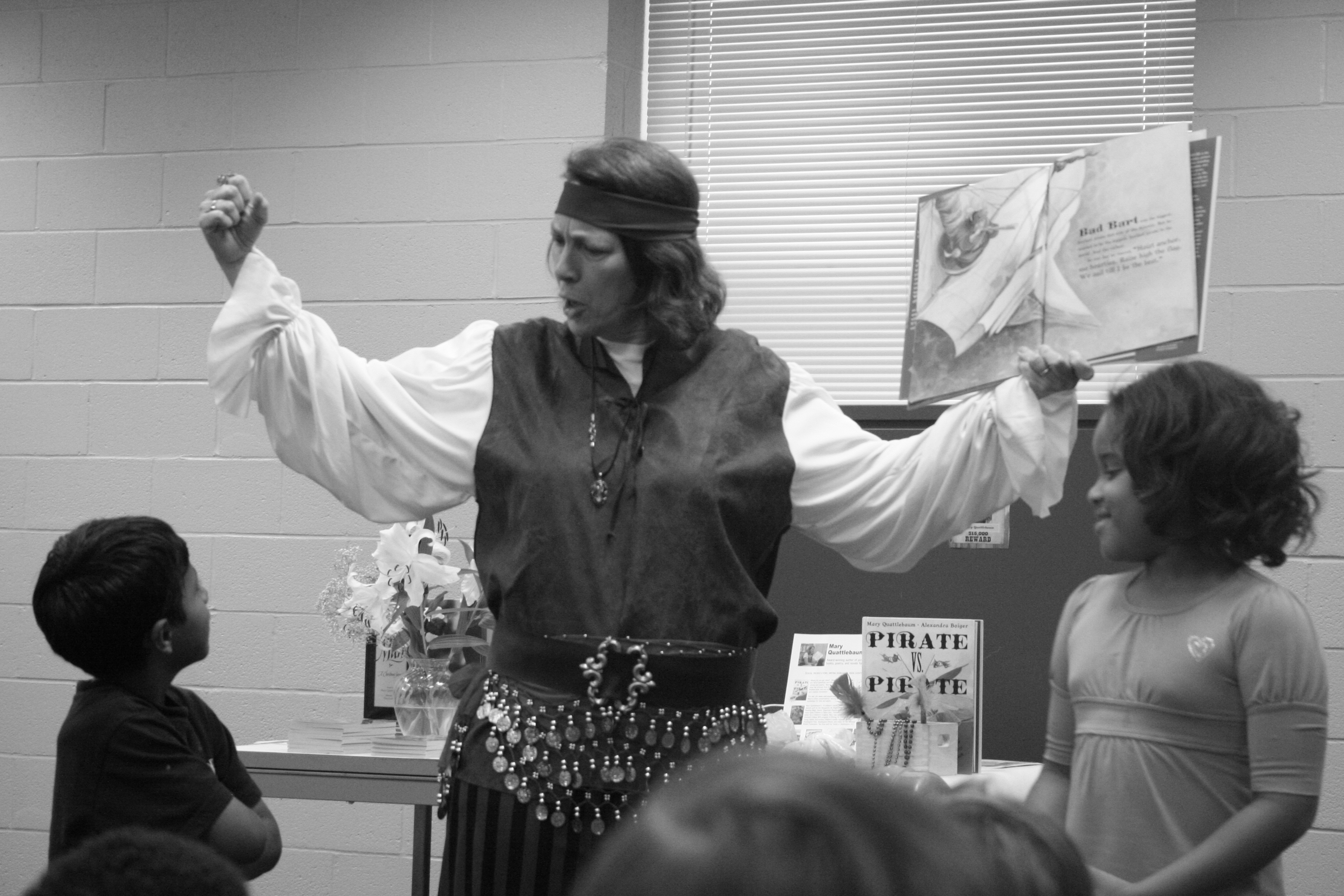 Mary and the two participants act out the story.