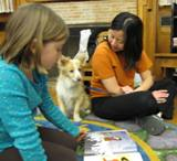 Photo of Bailey the dog reading at the library