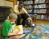 Photo of Ella the dog and a boy reading at the library