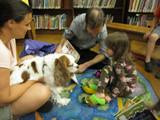 Photo of Fenway the dog and a girl reading at the library