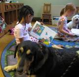 Photo of Freddie the dog and a girl reading at the library