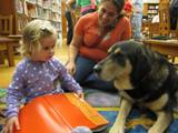 Photo of Freddie eager to hear a story at the library