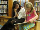 Photo of Happy the dog listening to a girl read at the library