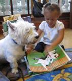 Photo of Pablo the dog and a girl reading